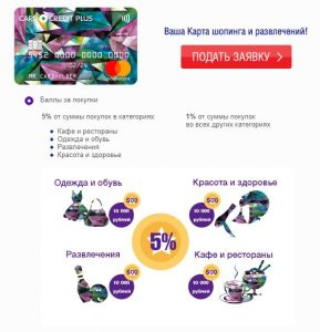 Кешбэк карты Credit card plus